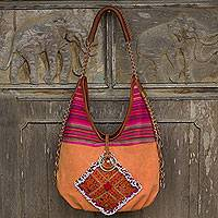 Leather accent cotton shoulder bag, 'Festive Karen Orange' - Karen Leather Trim Orange Handwoven Cotton Handbag