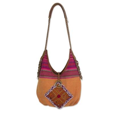 Novica Leather accent cotton shoulder bag, Festive Karen Red