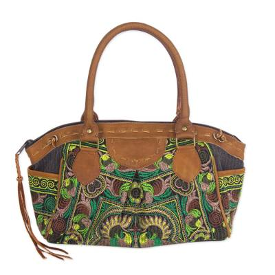 Leather accent baguette handbag, 'Mandarin Green' - Thai Hill Tribe Embroidered Leather Accent Handbag