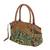 Leather accent baguette handbag, 'Mandarin Green' - Thai Hill Tribe Embroidered Leather Accent Handbag (image 2b) thumbail