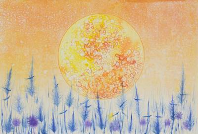 'My Home II' - Watercolor Monoprint of Blood Moon and Blue Grass