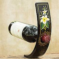 Lacquered wood wine bottle holder, 'White Plumeria' - Thai Handcrafted Flower Theme Wood Wine Bottle Holder