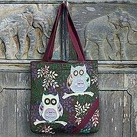 Cotton blend tote bag, 'Playful Owls in Dark Brown' - Forest Owls Cotton Blend Tote Bag in White and Brown