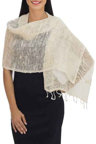 Cotton shawl, 'Breeze of Nature' - Natural Cotton Hand Woven Shawl Wrap from Thailand