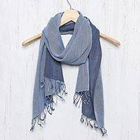 Cotton reversible scarf, 'Blue Duet'
