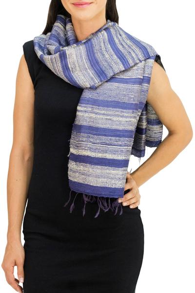 Silk scarf, 'Sapphire Mystery' - Blue and Cream Hand Spun Silk Scarf from Thailand