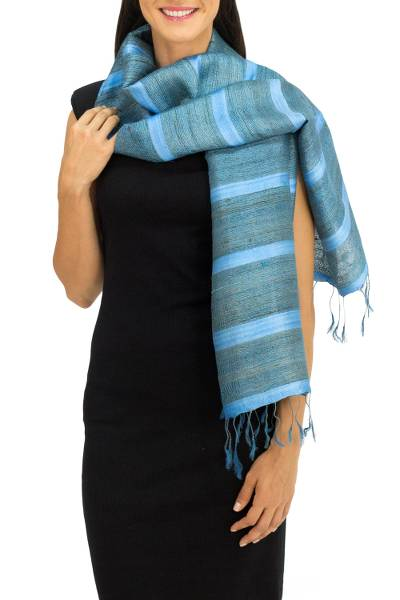 Silk scarf, 'Turquoise Mystery' - Blue and Turquoise Hand Spun Silk Scarf from Thailand