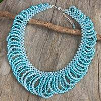 Quartz beaded necklace, 'Light Boho Blue' - Light Blue Quartz Beaded Necklace Crafted by Hand