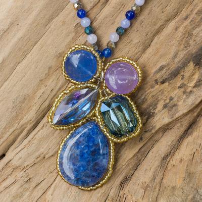 Quartz pendant necklace, 'Blue Bohemian Bouquet' - Thailand Artisan Crafted Blue Quartz Pendant Necklace.