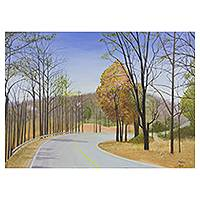 'The Curve I' - Northern Thailand in Winter Signed Landscape Painting