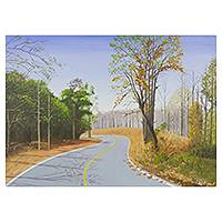 'The Curve II' - Northern Thailand Winter Landscape Signed Painting