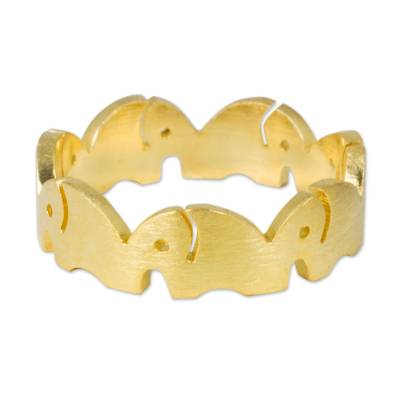 Gold vermeil band ring, 'Pachyderm Party' - Gold Vermeil Elephant Band Ring Handcrafted in Thailand
