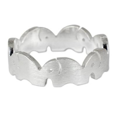 Sterling silver band ring, 'Pachyderm Party' - Sterling Silver Elephant Band Ring Handcrafted in Thailand