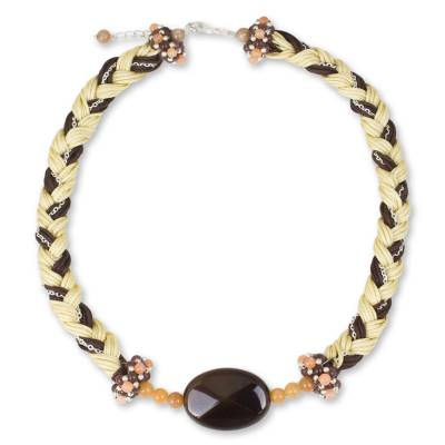 Chalcedony and Quartz Beaded Necklace on Nylon Cords