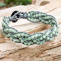 Amazonite braided bracelet, 'Sweet Hydrangea' - Handcrafted Amazonite Women's Bracelet with Grey Leather