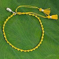 Quartz beaded bracelet, 'Yellow Lotus' - Macrame Yellow Quartz Beaded Bracelet with Hill Tribe Silver