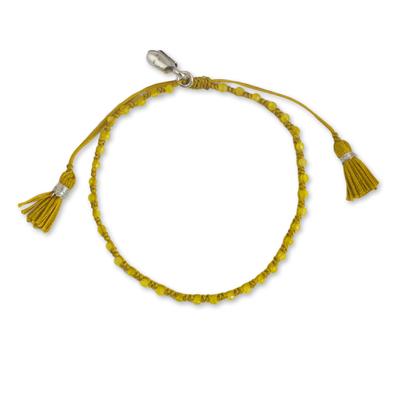 Macrame Yellow Quartz Beaded Bracelet with Hill Tribe Silver