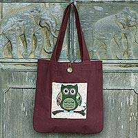 Cotton blend tote bag, 'Playful Owl' (14 in.) - Forest Owl Cotton Blend 14 Inch Tote Bag in White and Brown