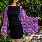 Soft Purple and Blue Open Weave Cotton Scarf, 'Spring Melange'