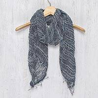 Cotton scarf, 'Winter Melange' - Blue Gray Open Weave Cotton Scarf Handmade in Thailand