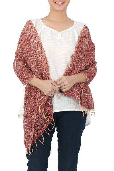 Cotton scarf, 'Desert Melange' - Desert Rose and Beige Loose Weave Cotton Shawl