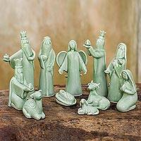 Celadon ceramic nativity scene, 'Jade Christmas' (11 pieces) - 11-Piece Handcrafted Thai Celadon Ceramic Nativity Scene