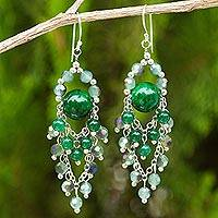 Green quartz chandelier earrings, 'Brilliant Meteor'