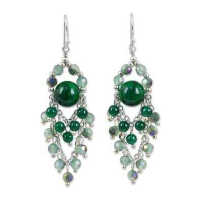 Green quartz chandelier earrings, 'Brilliant Meteor' - Green Quartz and Glass Bead Chandelier Style Earrings