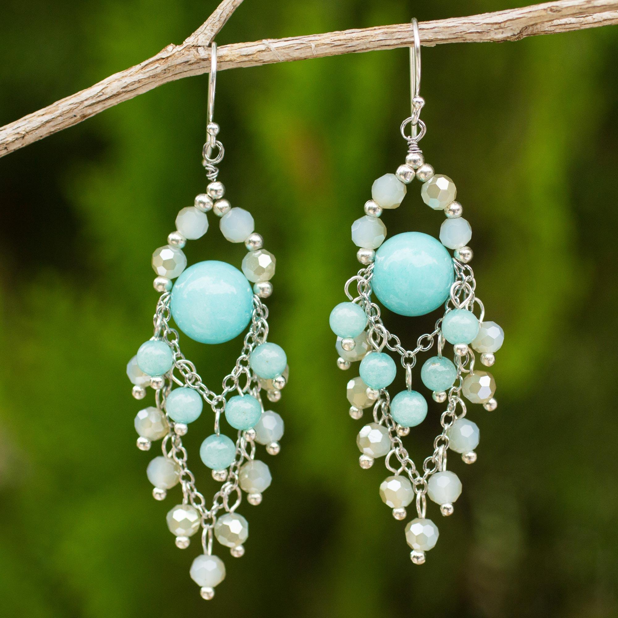 Turquoise Glass Beaded Chandelier Earrings