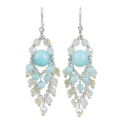 Blue quartz chandelier earrings, 'Brilliant Meteor' - Beaded Chandelier Earrings with Blue Quartz and Glass Beads