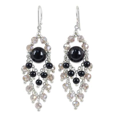Unique Chandelier Earrings with Onyx and Glass Beads