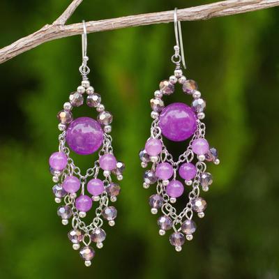 Purple quartz chandelier earrings, 'Brilliant Meteor' - Purple Beaded Chandelier Earrings with Quartz and Glass