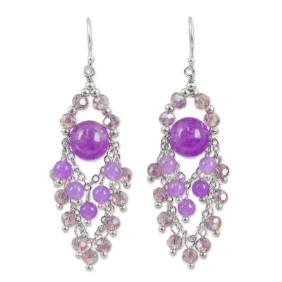 Purple Beaded Chandelier Earrings with Quartz and Glass