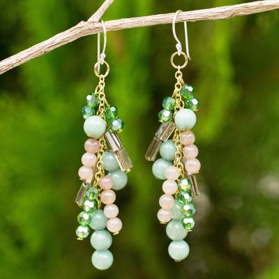 Green quartz waterfall earrings, 'Brilliant Cascade' - Quartz and Glass Bead Waterfall Earrings in Green Shades