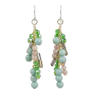 Quartz and Glass Bead Waterfall Earrings in Green Shades