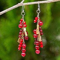Red quartz waterfall earrings, 'Brilliant Cascade' - Beaded Red Quartz Earrings on 24k Gold Plated Chains
