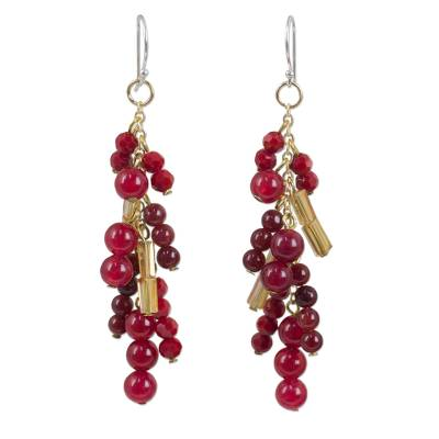 Beaded Red Quartz Earrings on 24k Gold Plated Chains