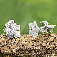 Sterling silver flower stud earrings, 'Cayenne Jasmine' - Petite Flower Stud Earrings in Brushed 925 Sterling Silver