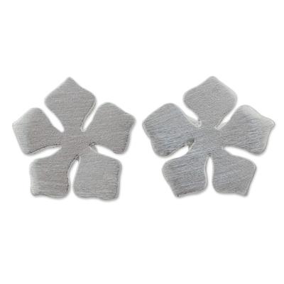 Petite Flower Stud Earrings in Brushed 925 Sterling Silver