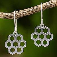 Sterling silver dangle earrings, 'Honeycomb Star' - Contemporary Brushed Silver Earrings with Honeycomb Design