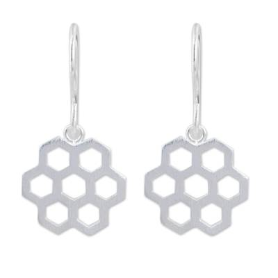 Contemporary Brushed Silver Earrings with Honeycomb Design