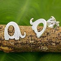Sterling silver stud earrings, 'Tiny Elephants' - Brushed Silver Elephant Stud Earrings from Thai Artisan