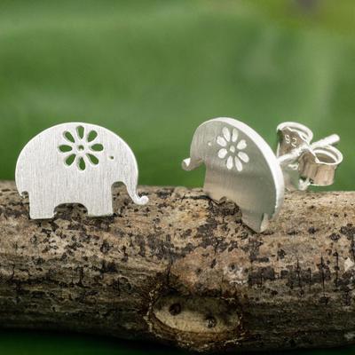 Sterling silver stud earrings, 'Blooming Elephants' - Handmade Elephant Stud Earrings in Sterling Silver