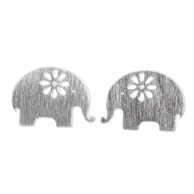 Sterling silver stud earrings, 'Blooming Elephants' - Handmade Elephant Stud Earrings in Sterling Silver