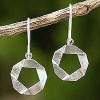 Sterling silver dangle earrings, 'Pentagons' - Geometric Themed Sterling Silver 925 Dangle Earrings