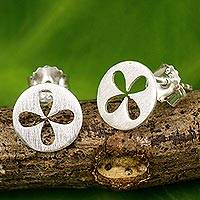 Sterling silver stud earrings, 'Clover Windows' - Small Stud Earrings in Brushed Sterling Silver
