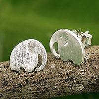 Sterling silver stud earrings, 'Elephant Fun'
