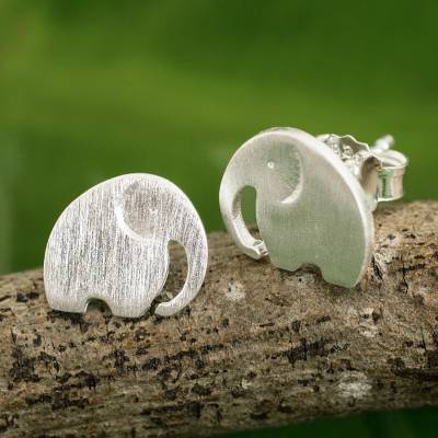 Sterling silver stud earrings, 'Elephant Fun' - Stud Earrings with Elephant Motif in 925 Sterling Silver