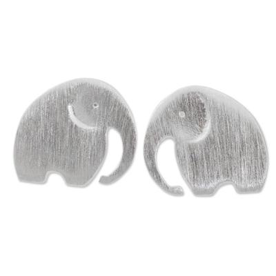 Stud Earrings with Elephant Motif in 925 Sterling Silver