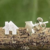 Sterling silver stud earrings, 'Home Sweet Home' - Brushed Silver Earrings in House Shape from Thai Artisan